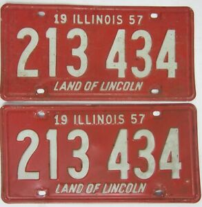 ILLINOIS 1957 matching pair licence/number plate US/United States/USA/American