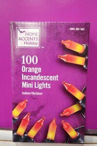 HALLOWEEN 100 Mini String Lights Orange Home Accents Black Wires