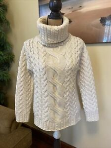 Innis Crafts Ivory Merino Wool Cable Knit Fisherman Turtleneck Sweater M