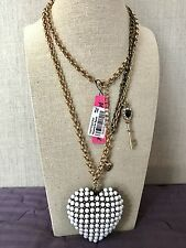 NWT 100% Betsey Johnson RARE Big Pearl Heart Black Key Puffy Long Necklace