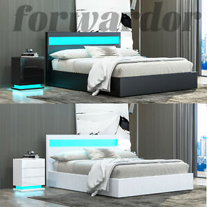 LED Faux Leather Bed Gas Lift Up Ottoman Storage Wooden Bed Frame Double King UK