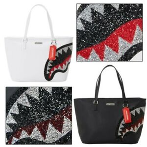 Sprayground Womens Vegan Faux Leather Rhinestone Trinity Shark Tote Handbag