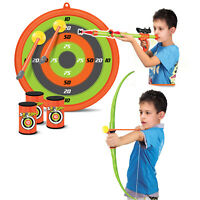 Kids 2 in 1 Large Bow & Arrow Set Archery Toy Blow Gun Shooting Target Practice