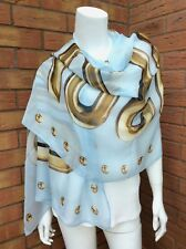 Moschino Pale Blue Silk Chiffon Scarf With Large Caramel Logo Made in Italy