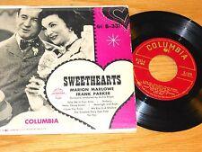 "POP DOUBLE EP - MARIAN MARLOWE / FRANK PARKER - COLUMBIA B-331 - ""SWEETHEARTS"""