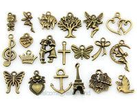 Wholesale Bulk Lots Antique Bronze Mix Pendants Charms Free Ship Y45