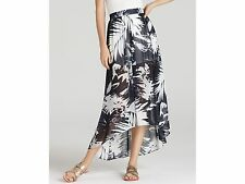 Vince Camuto Women's Navy and White Abstract Leaf Maxi Skirt Size 4