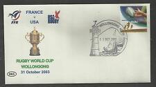 AUSTRALIA 2003 RUGBY WORLD CUP Souvenir Cover FRANCE v USA  31/10/2003