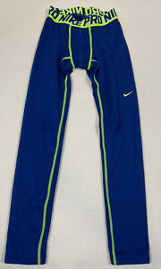 Nike Pro Leggings L Blue Neon Green Warm Dri-Fit