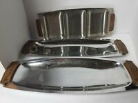 Vintage Chrome Kromex Tray Wood Look Handles & Zelco Stainless Steel Platter