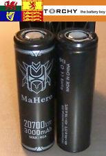 2x 30A Mahero 20700  3.7v Li-ion batteries 3000mAh