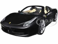 FERRARI 458 ITALIA SPIDER MATT BLACK 1/24 DIECAST MODEL CAR HOTWHEELS BLY65
