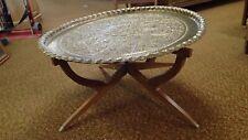 1950s Moroccan Mid-Century Tea Coffee Tray Table Wood Folding Legs & Brass Top