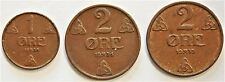 Norway Lot Of Three 1 & 2 Ore Coins 1938 - 1939 Km# 367 & Km# 371 [409,410,411]