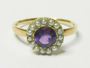 Antique Victorian 9 ct Gold Amethyst and Seed Pearl Ring Size P