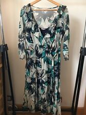 Soon Size 14 2 Piece Polyester Green Navy Long Sleeve Dress <T11604
