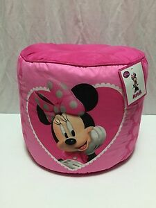 Disney Minnie Mouse Pouf Chair Bean Bag Foot Stool NWT Pink Hearts Room Decor