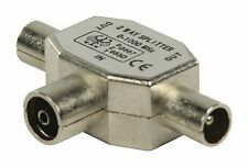 TV Aerial Splitter - TV Coaxial Female to 2x TV Coaxial Male 1 INTO 2