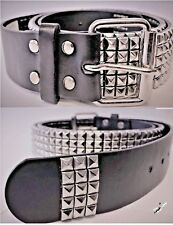 LARGE BLACK MEN'S LADIES STUDDED  LEATHER BELT PYRAMID CONICAL STUD 5 ROW 36-40