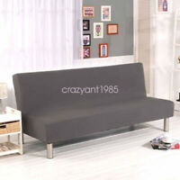 Stretch Solid Colour Slipcover Room Decor Without Armrest Folding Sofa Bed Cover