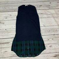 Equipment Femme V Neck Tunic Cashmere Wool/Blend Top 100% Silk Plaid Bottom S/P