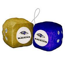 "Baltimore Ravens 3"" Fuzzy Dice PAIR Car Auto Rearview Mirror Football"