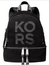 New Michael Kors Rhea Zip Backpack Logo front polyester Bag black white silver
