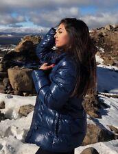 $398 DONNA KARAN DKNY Blue Down Puffer Faux Fur Trim Coat Jacket Sz M 6/8