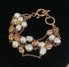 "Honora Cultured Pearl Bronze Multi-Strand Bead Bracelet Toggle 7.5"""