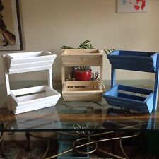 Heavy Duty mini in legno VERDURE ORTAGGI FRUTTA & Storage Rack in finitura blu