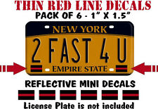 """THIN RED LINE PACK OF 6 LICENSE PLATE REFLECTIVE DECALS - 1"""" x 1.6"""" Mini Decals"""