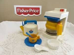 Fisher Price Fun With Food Coffee Maker & Whistling Teapot Lot with Dishes