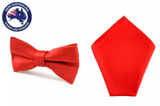 Men's Solid Red Bowtie & Pocket Square Formal Groomsmen Plain Set for Men