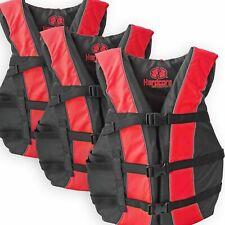 3 Pack Hardcore Adult Life Jacket PFD Type III Coast Guard Ski Vest Red