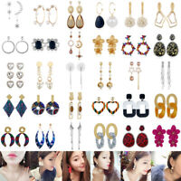 Women Fashion Bohemian Crystal Rhinestone Long Tassel Dangle Drop Stud Earrings