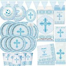 Boys 1st First Holy Communion Party Tableware + Decorations Royal Blue White