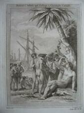 1754 - PREVOST VOYAGES - WEST INDIES Engraving C. COLUMBUS with NATIVES