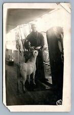 NAVAL SAILOR w/ GOAT 1915 ANTIQUE REAL PHOTO POSTCARD RPPC