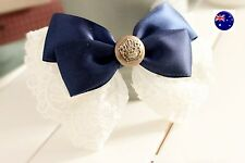 Girl School Uniform Navy Ribbon bow Lace Hair Ponytail Elastic Band Tie holder