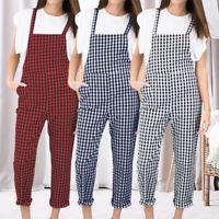 Women Plaid Check Dungarees Ladies Rompers Jumpsuit Overalls Bib Pants Plus Size