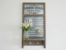 Shabby Chic Industrial Washboard Shelf Hooks and Magnetic Notice/Memo Board