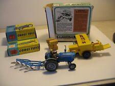 Corgi Ford 5000 Super Major Tractor, Plough and Bamford hey bailer and Animals