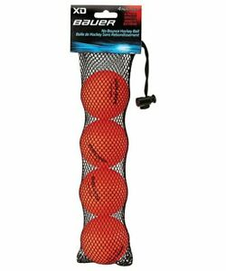 Bauer XD Hard Orange Street Hockey Balls, Roller Hockey Balls Pack of 4