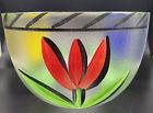 "KOSTA BODA Glass Serving Bowl ULRICA HYDMAN VALLIEN Hand Painted TULIPS 8 5/8"""