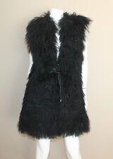 Auth Trilogy Black Tibetan Lamb Real Fur Long Vest Size M Orig $895