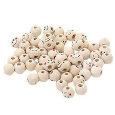 Wooden Round Smiley Face Loose Beads 10mm (Pack of Approx. 40pcs)