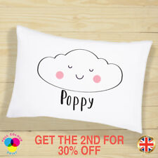 PERSONALISED Cushion Cover Pillow Case Kids Cute Cloud Name Gift Sleepover Kit