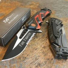 MTech BALLISTIC Assisted Opening Rescue FIRE FIGHTER DEPT BLACK RESCUE Knife NEW
