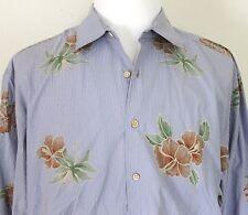 Men's XL Tommy Bahama Cotton Floral Hibiscus Long Sleeve Aloha Shirt