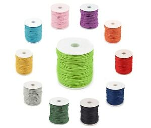 Waxed Cotton Cord 1mm 43 COLOURS Shamballa Thread Jewellery Making Macrame